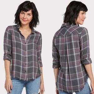 NWOT - Cloth & Stone Frayed Plaid Buttondown - S